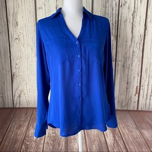 Express blue sheer button down top size small